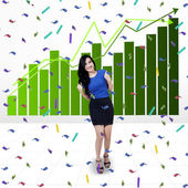 Excited businesswoman with chart — Stock Photo