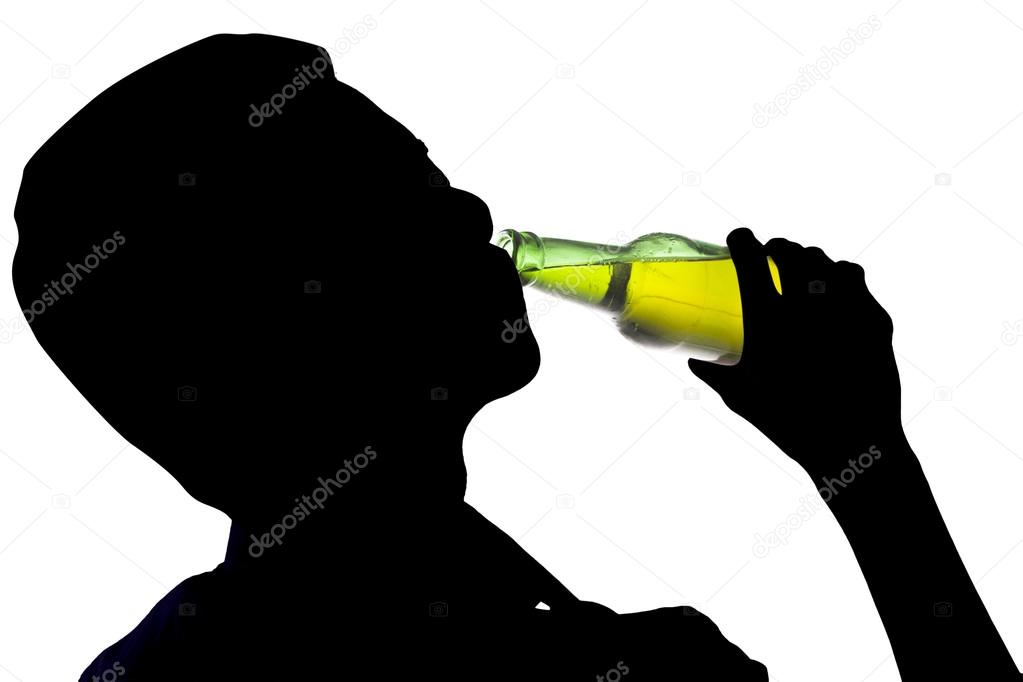 Man Drinking Bottle Of Alcohol