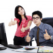 Boss and secretary showing thumbs up 2 — Stock Photo #45304095