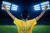 Expressive brazilian fans at stadion — Stock Photo