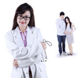 Female obstetrician with her patient — Stock Photo