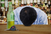 Alcoholic Young Man in Bar — Stock Photo