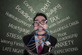 Anger businessman tied with a rope 2 — Stock Photo