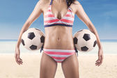 Beautiful body of female soccer fan — Stock Photo