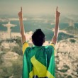 Backside of Brazilian supporter — Stock Photo