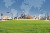 Background travel destination on world map — Stock Photo