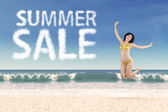 Summer sale clouds and jumping woman 3 — Stock Photo