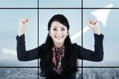 Businesswoman celebrating her accomplishment 1 — Stock Photo