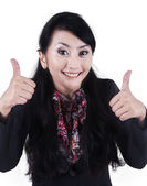 Businesswoman with two thumbs up — Stock Photo