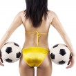 Sexy woman brazil fans holding soccer balls — Stock Photo #47302239