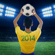 Soccer player throwing the ball — Stock Photo #47304531
