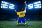 Soccer player holding trophy at field 1 — Foto de Stock