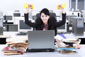 Woman working and workout in office 2 — Stock Photo