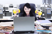 Woman working and workout in office — Foto de Stock