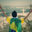 Brazilian supporter holding a trophy — Stock Photo #47994239