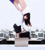 предприниматель работает как марионеткой — Стоковое фото