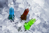 Fresh beers in the ice cube — Stock Photo