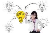 Businesswoman drawing her creativity — Zdjęcie stockowe