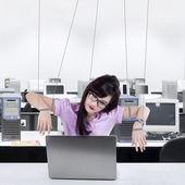 Businesswoman working like a slave — Stock Photo