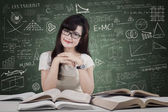 Friendly student smiling in the class — Stock Photo