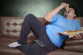 Obese person eats pizza 3 — Stock Photo