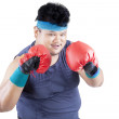 Overweight man ready to boxing 1 — Stock Photo #49190215