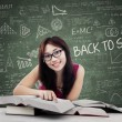 Beautiful female college student in class 1 — Stock Photo