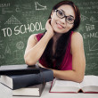 Friendly female college student in class 1 — Stock Photo