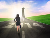 Businesswoman walking to improve career — Stock Photo