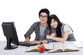 Cheerful students studying together — Stock Photo