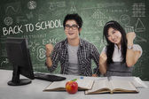 Successful students winning in class 1 — Stock Photo