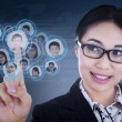 Close-up businesswoman choose people — Stockfoto