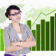 Professional businesswoman and chart — Stock Photo