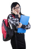 Female student feel dizzy — Stock Photo