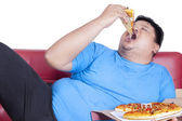 Obese person eats pizza 2 — Stock Photo