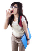 Female student announcing news — Stock Photo