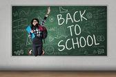 студент праздновать обратно в школу — Стоковое фото