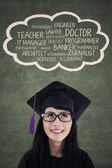 Young diploma with her dream — Stock Photo