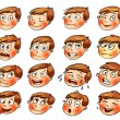 Emotions. Cartoon facial expressions set. Hand-drawn — Stock Photo