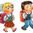 Stock Photo: Boy and girl go to school