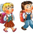 Boy and girl go to school - Stock Photo