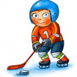Boy playing hockey — Stock Photo