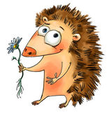 Hedgehog holding a flower — Stock Photo