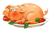Funny pig lies on a plate — Stock Photo