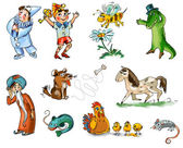 Set of fairy tale characters and animals — Stock Photo