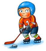 Boy playing hockey — Stock Photo