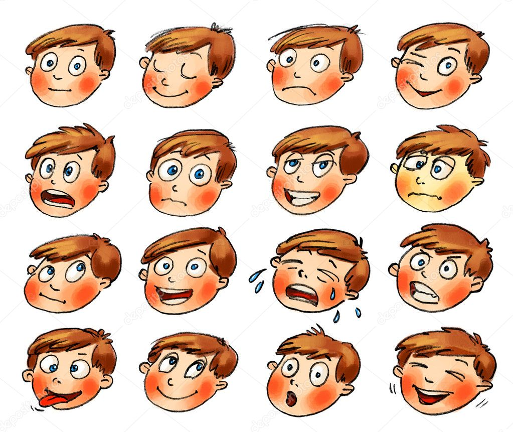 Emotions cartoon facial expressions set hand drawn — stock photo
