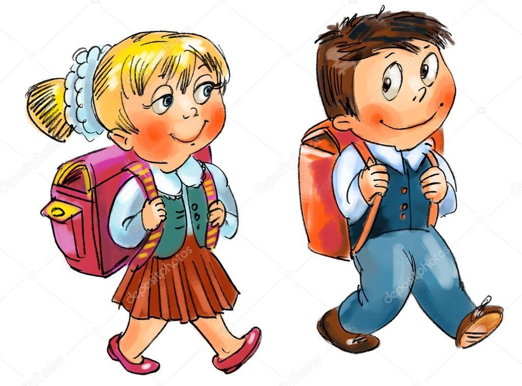 картинки девочка и мальчик ученики