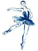 Blue ballerina, drawing gouache — Stock Photo