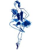Blue ballerina, drawing gouache — Stock Photo